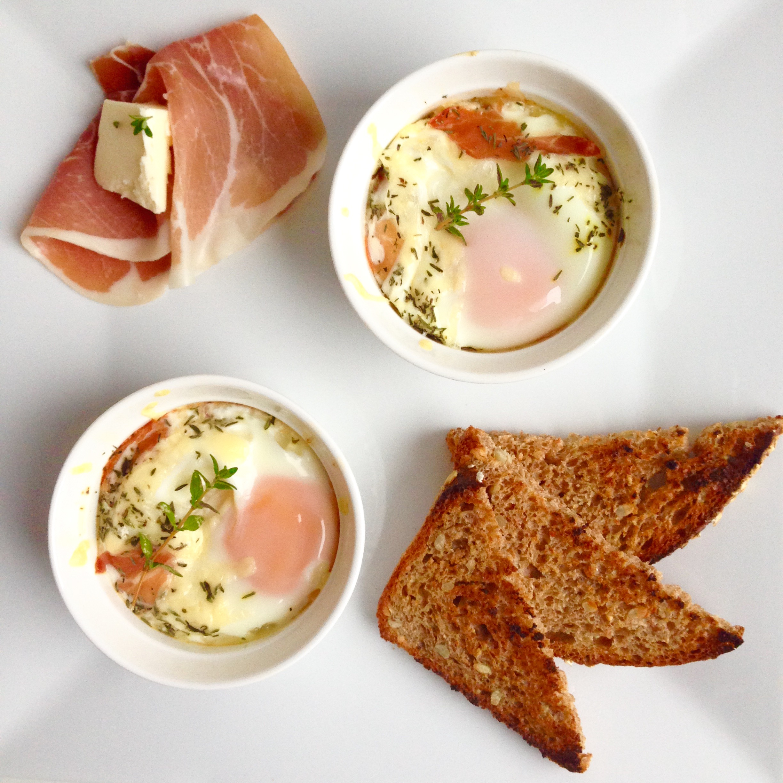 Baked Eggs With Prosciutto And Asiago Cream Recipe — Dishmaps