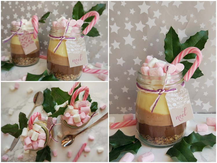 three layer chocolate cake in a jar